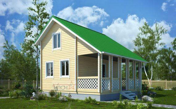 Дачный дом из бруса №11 6х4м и верандой