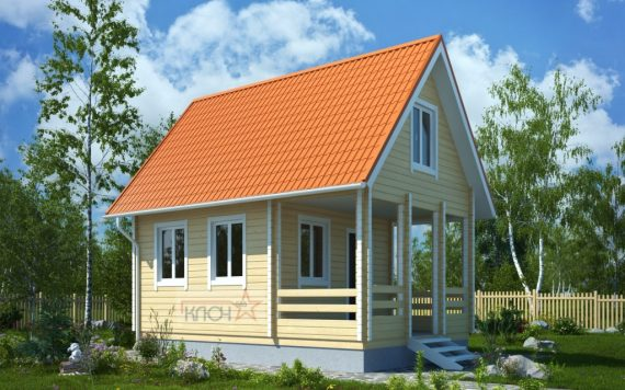 Дачный дом №6 6х4 м с верандой и мансардой