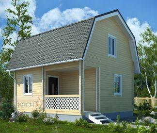 Дачный дом №8 6х4м с мансардой и верандой