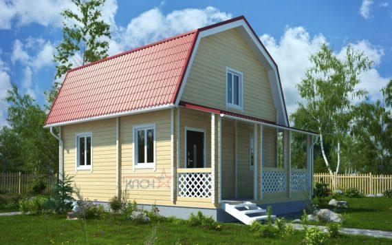 Дачный дом из бруса №9 6х4м с верандой