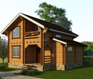 Дом из двойного бруса «Эстерсунд» 7,5х7,5м 97м²