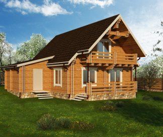 Дом из двойного бруса «Нерль» 10,2Х9,3м