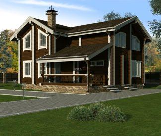 Дом из клееного бруса «Онега» 9х9м150м²