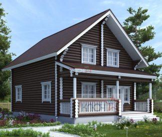 Дом из оцилиндрованного бревна 8х9+2м веранда