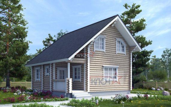 Дом из оцилиндрованного бревна «Софья» 8х8м 128м²