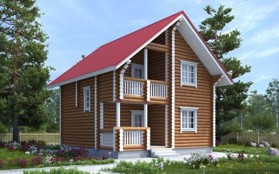 Дом из оцилиндрованного бревна «Татьяна» 7,5х7,5м 113м²