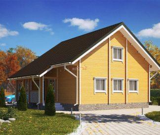 Дом «Барин» 7х8м из бруса с террасой 2х5м