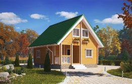 Дом «Богатырь» 6х7,5м из бруса с верандой 1,5х3м