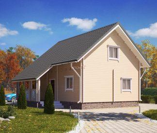 Дом «Княжич» 6х8м из бруса с террасой 2х4,5м