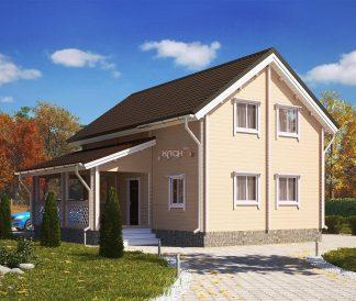 Дом «Сударь» 6х9м из бруса с террасой 2х5,2м