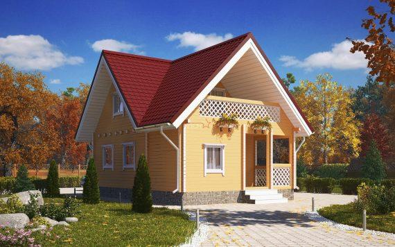 Дом «Теремъ» 8,5х6м с вальмовой крышей