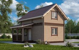 Дом «Каролина» 6х4м с полумансардой и крыльцом