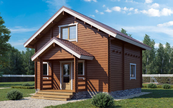 Дачный дом из бруса «Велес» 6х6м 73 м²