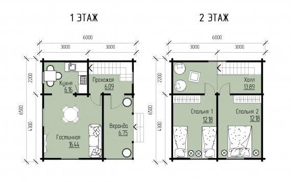 Дачный дом 6,5х6м