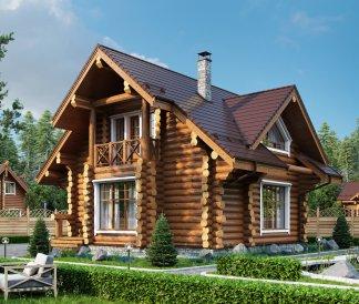 Дом из оцилиндрованного бревна «Ольга» 8х9м 111м²