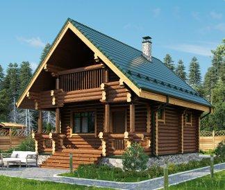 Дом из оцилиндрованного бревна «Василиса» 6,2х7,8м 81м²