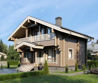 Дом из клееного бруса «Воскресенск» 9х9м 125м²