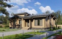 Одноэтажный дом из клееного бруса «Жуковский» 12,6х14,7м 164м²