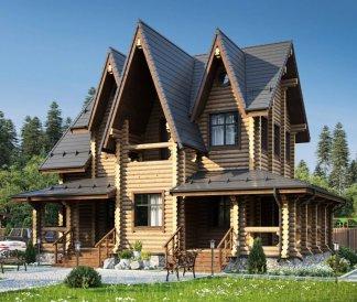 Дом из оцилиндрованного бревна «Полина» 8,2х12,2м 143м²