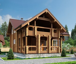 Дом из оцилиндрованного бревна «Валерия» 10х11м 150м²