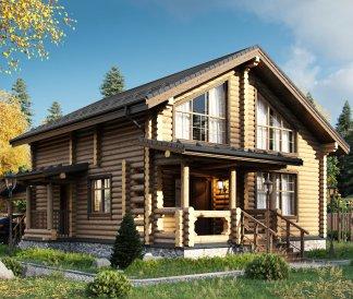 Дом из оцилиндрованного бревна «Алена» 10,6х14,4м 152м²