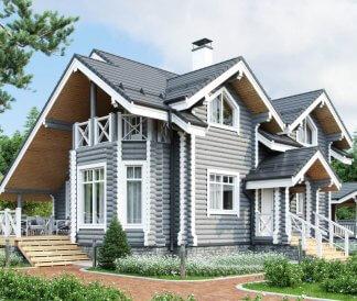 Дом из оцилиндрованного бревна «Светлана» 10,6х10,7м 155м²