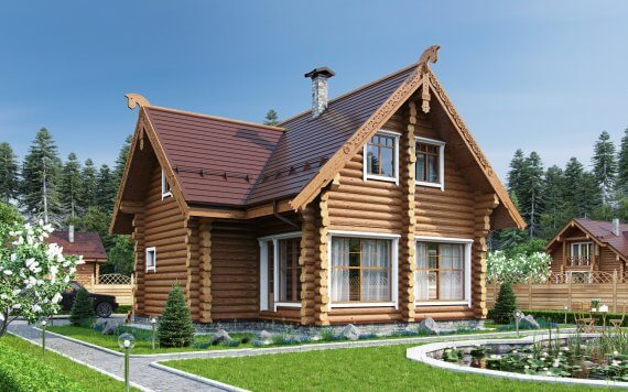 Дом из оцилиндрованного бревна «Ксения» 10,9х11,8м 176м²