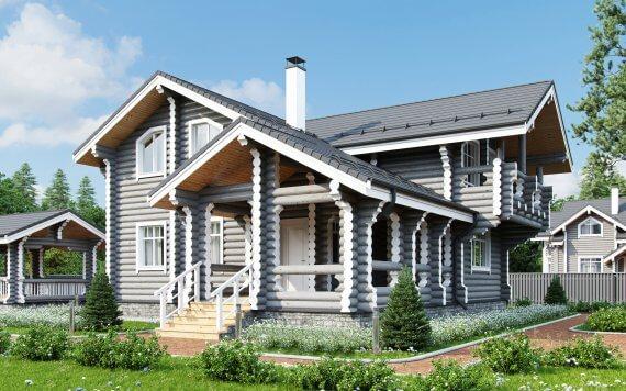 Дом из оцилиндрованного бревна «Алиса» 11,6х13,8м 173м²