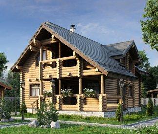 Дом из оцилиндрованного бревна «Диана» 10,8х14,3м 190м²