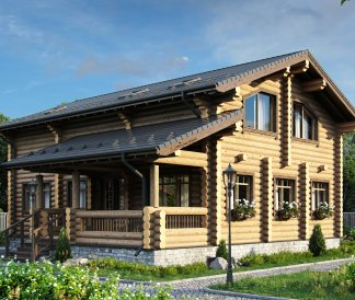 Дом из оцилиндрованного бревна «Инна» 12х12,25м 196м²