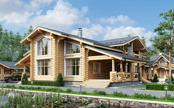 Дом из оцилиндрованного бревна «Маргарита» 17,4х22,9м 481м²