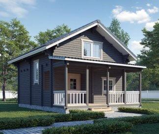 Дом из бруса «Мечта дачника» 6х6м с верандой 1.5х6м 81м2